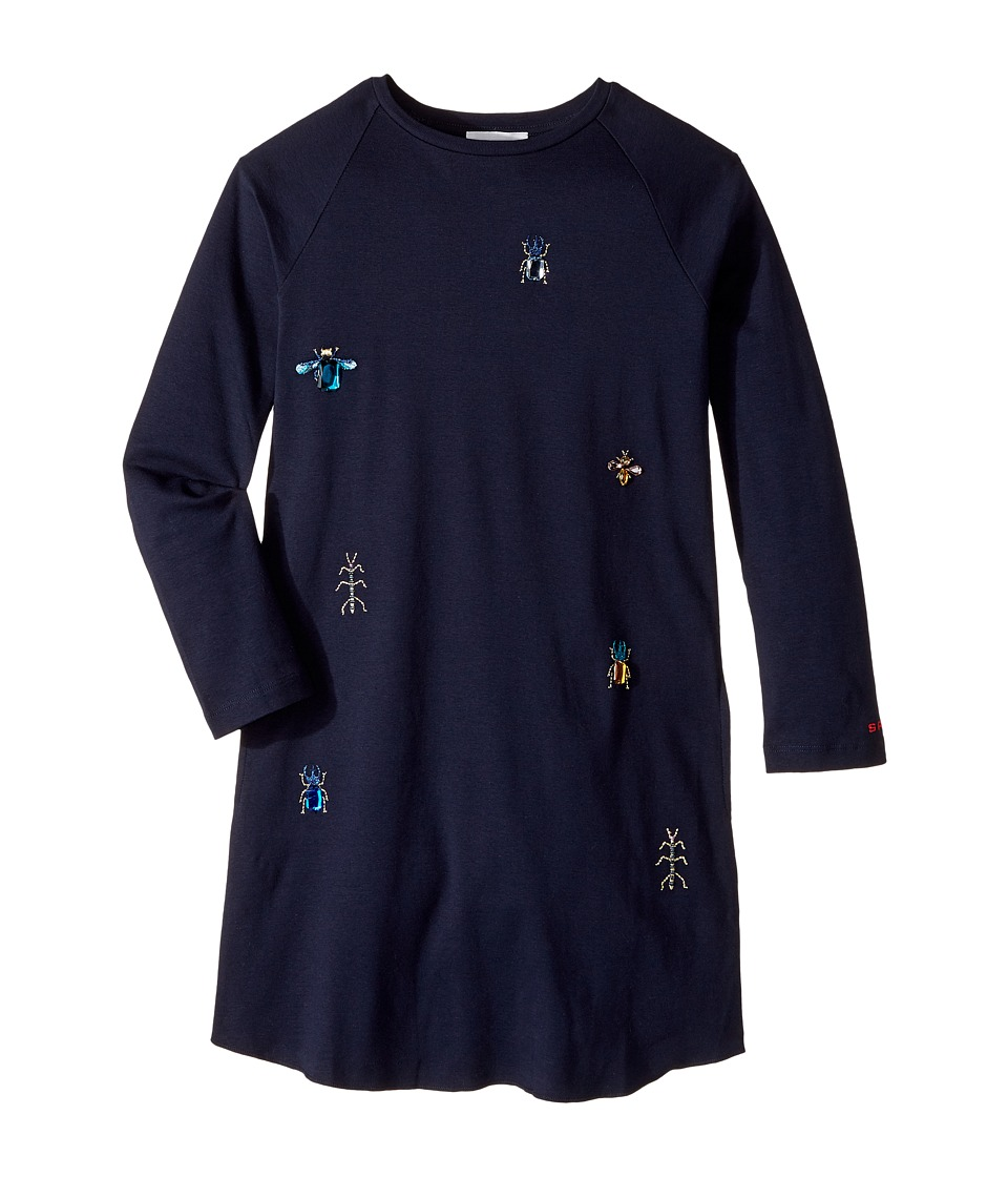 Sonia Rykiel Kids - Long Sleeve Dress w/ Embellished Insect Design (Big Kids) (Night) Girls Dress