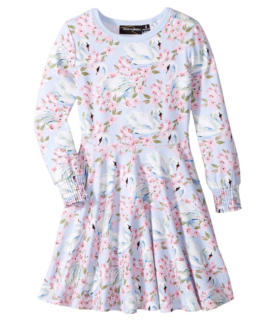 Rock Your Baby - Fairy Tale Swans Waisted Dress (Toddler/Little Kids/Big Kids) (Light Purple) Girls Dress