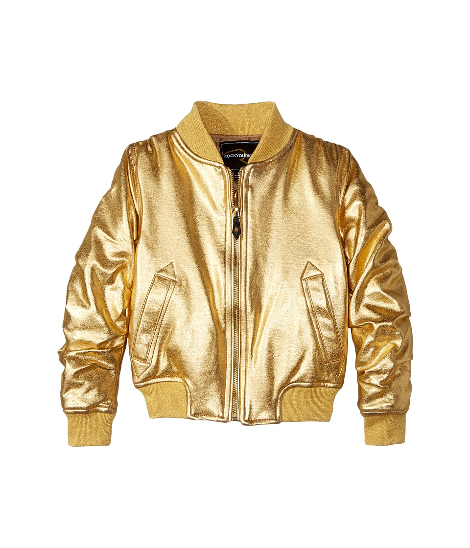 Rock Your Baby - Studio 54 Bomber (Toddler/Little Kids/Big Kids) (Gold) Girls Coat