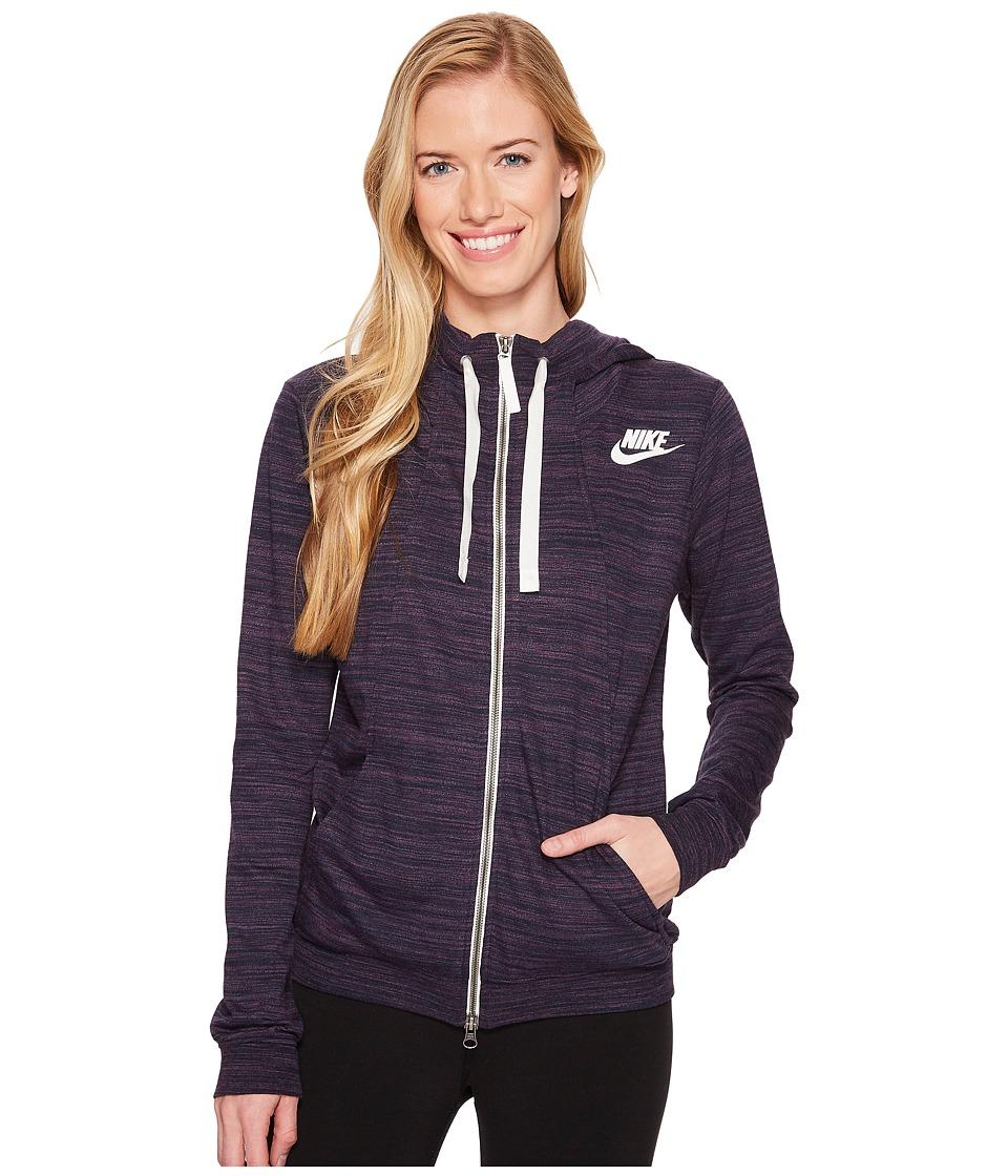 Nike Sportswear Gym Classic Full Zip Hoodie (Obsidian/Heather/Sail) Women