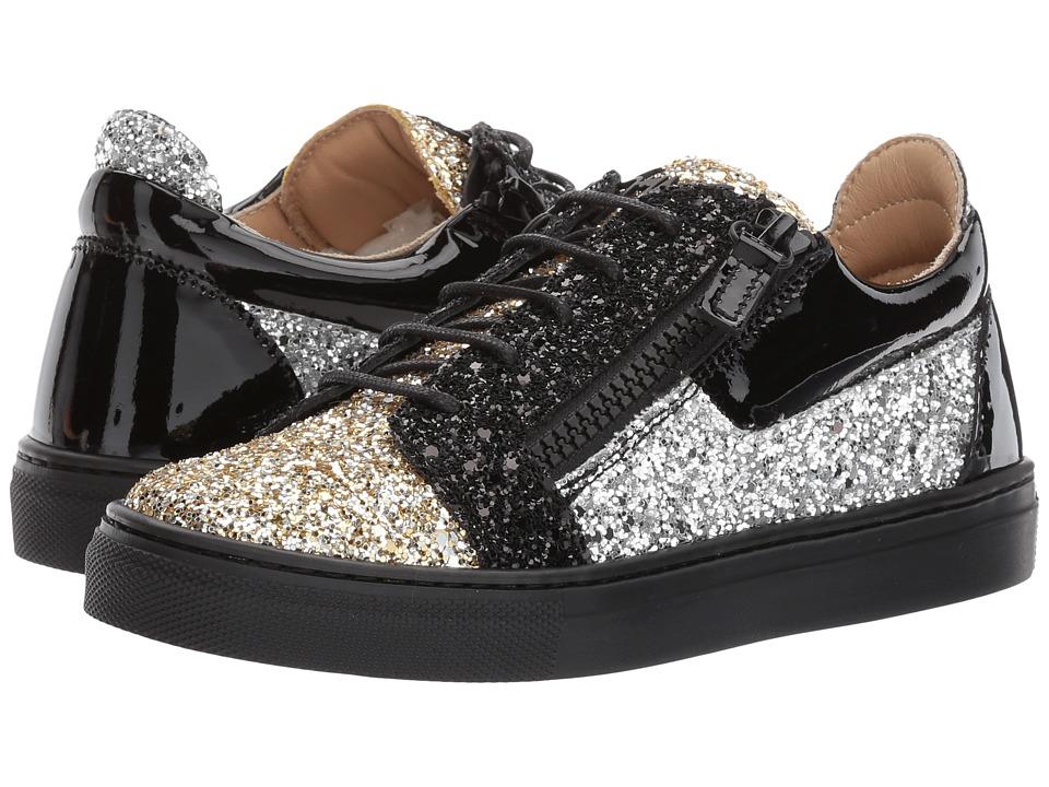 Giuseppe Zanotti Kids Gail Jr. Glitter Sneaker (Toddler/Little Kid) (Gold) Girls Shoes