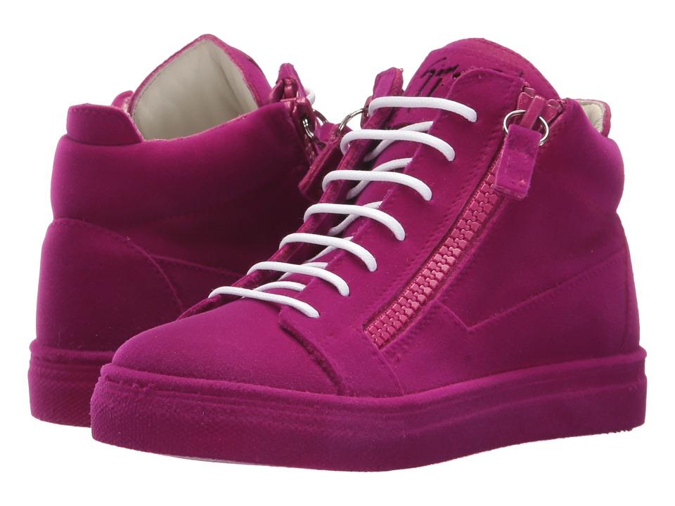 Giuseppe Zanotti Kids Flock Sneaker (Toddler/Little Kid) (Fuchsia) Girls Shoes