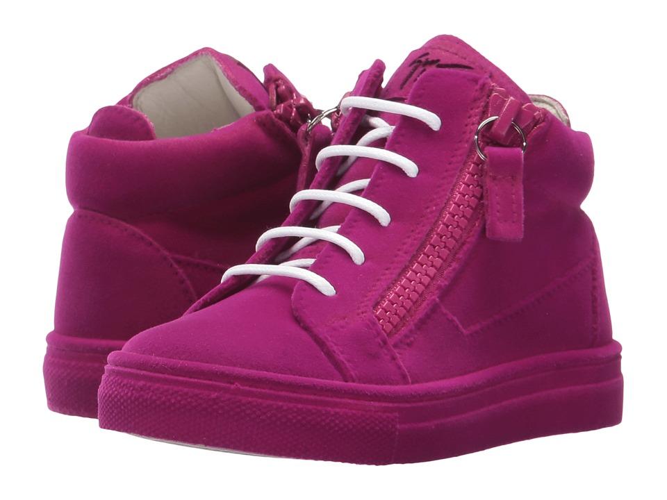 Giuseppe Zanotti Kids Flock Sneaker (Toddler) (Fuchsia) Girls Shoes