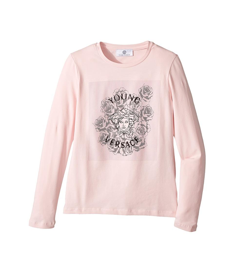 Versace Kids - Long Sleeve T-Shirt w/ Medusa Rose Design On Front