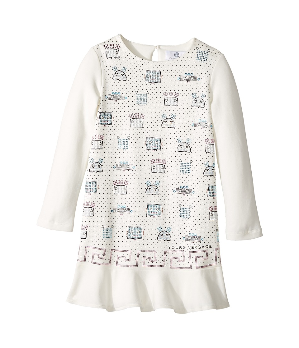 Versace Kids - Long Sleeve Embellished Robot Dropwaist Dress