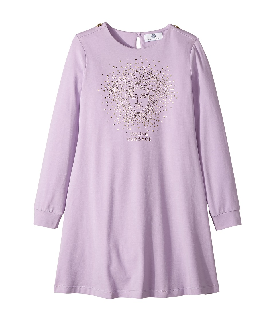 Versace Kids - Long Sleeve Dress w/ Embellished Medusa On Front