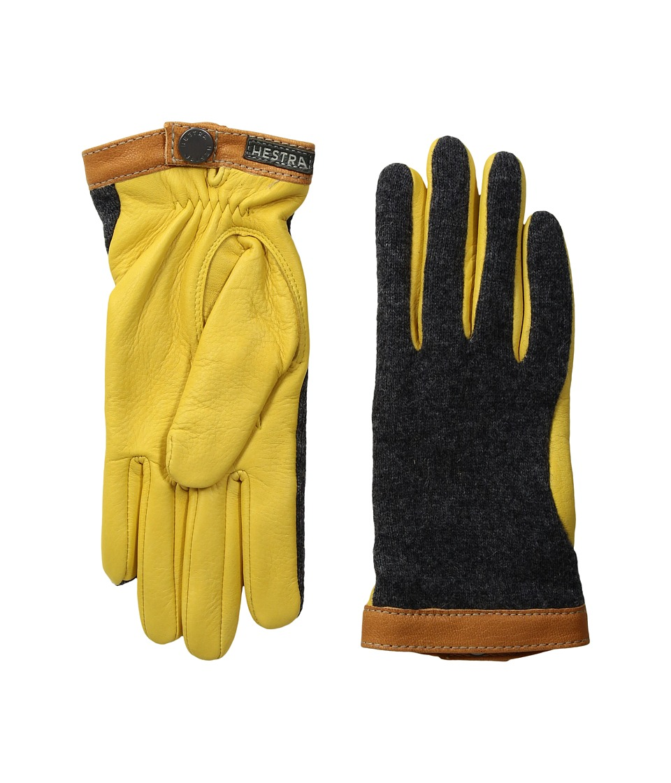 Hestra Deerskin Wool Tricot (Charcoal/Natural Yellow) Dress Gloves