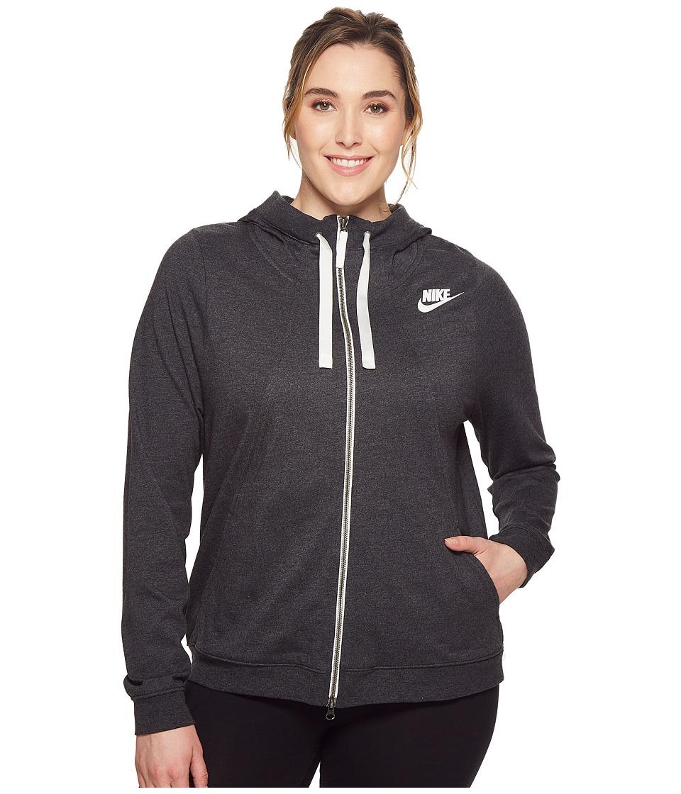 Nike Sportswear Gym Classic Full-Zip Hoodie (Size 1X-3X) (Black Heather/Sail) Women