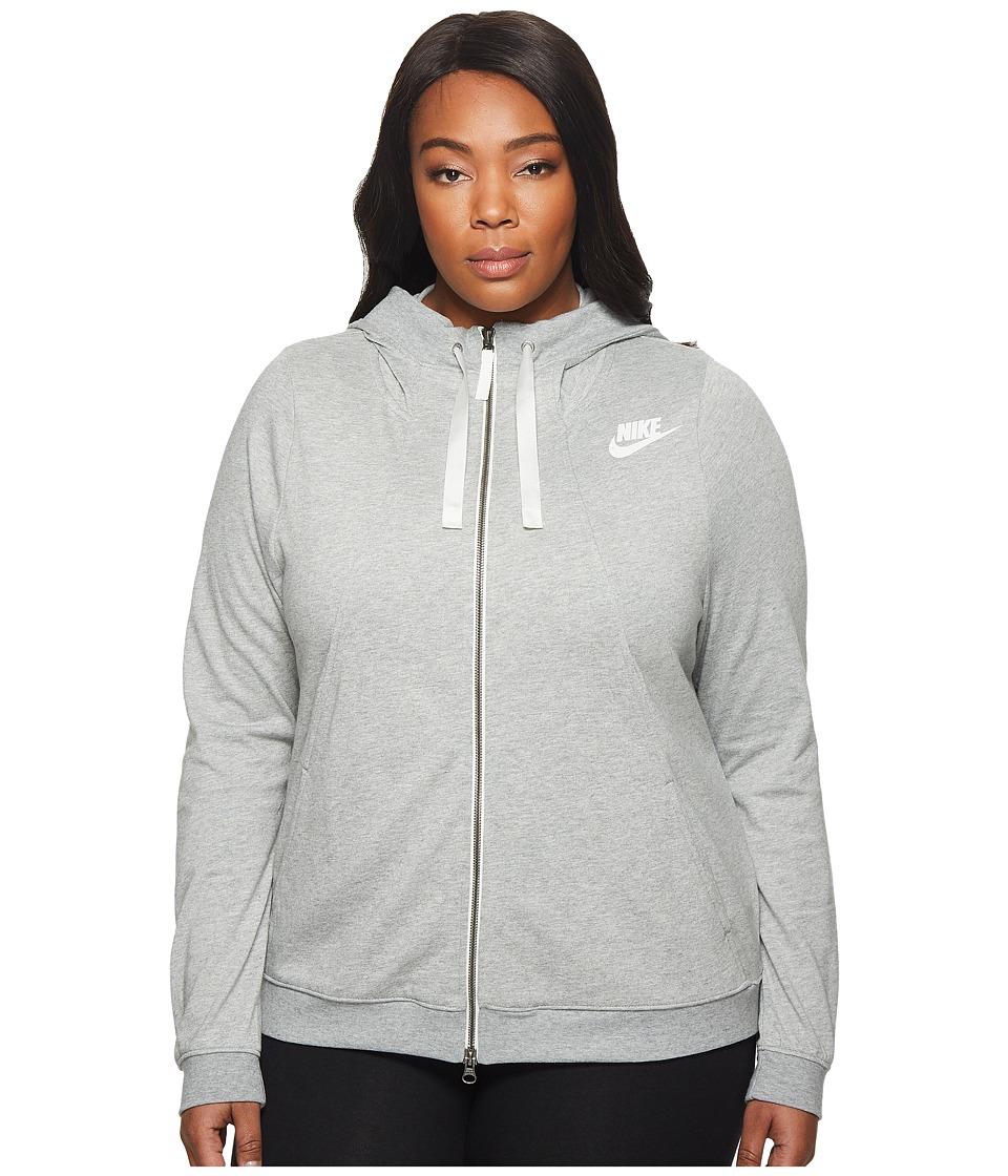 Nike Sportswear Gym Classic Full-Zip Hoodie (Size 1X-3X) (Dark Grey Heather/Sail) Women