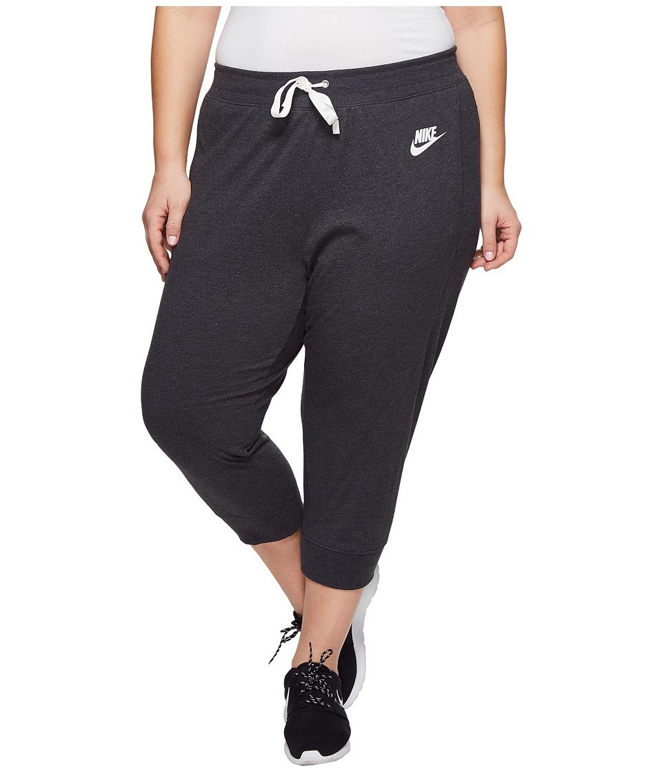 Nike Sportswear Gym Classic Capri (Size 1X-3X) (Black Heather/Sail) Women
