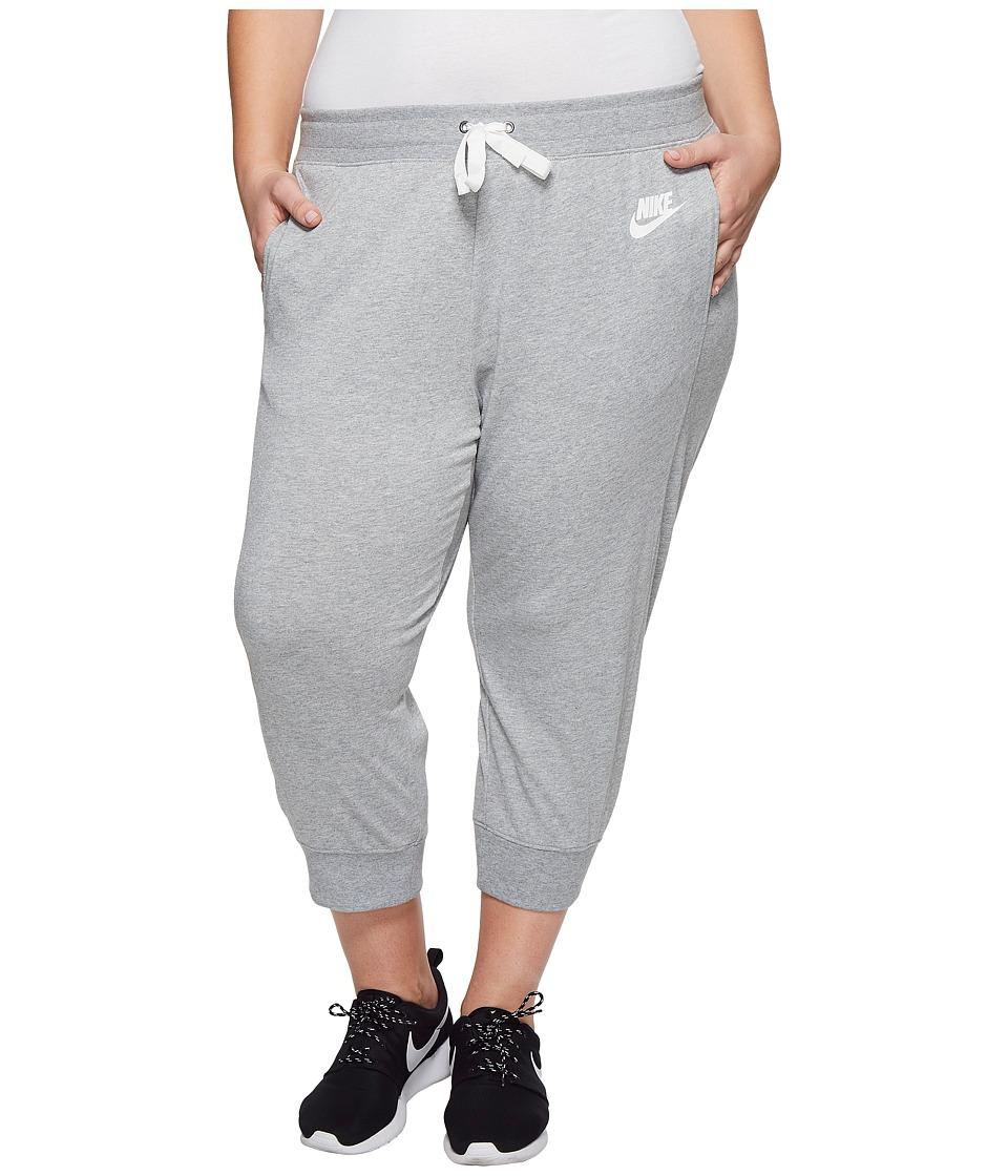 Nike Sportswear Gym Classic Capri (Size 1X-3X) (Dark Grey Heather/Sail) Women