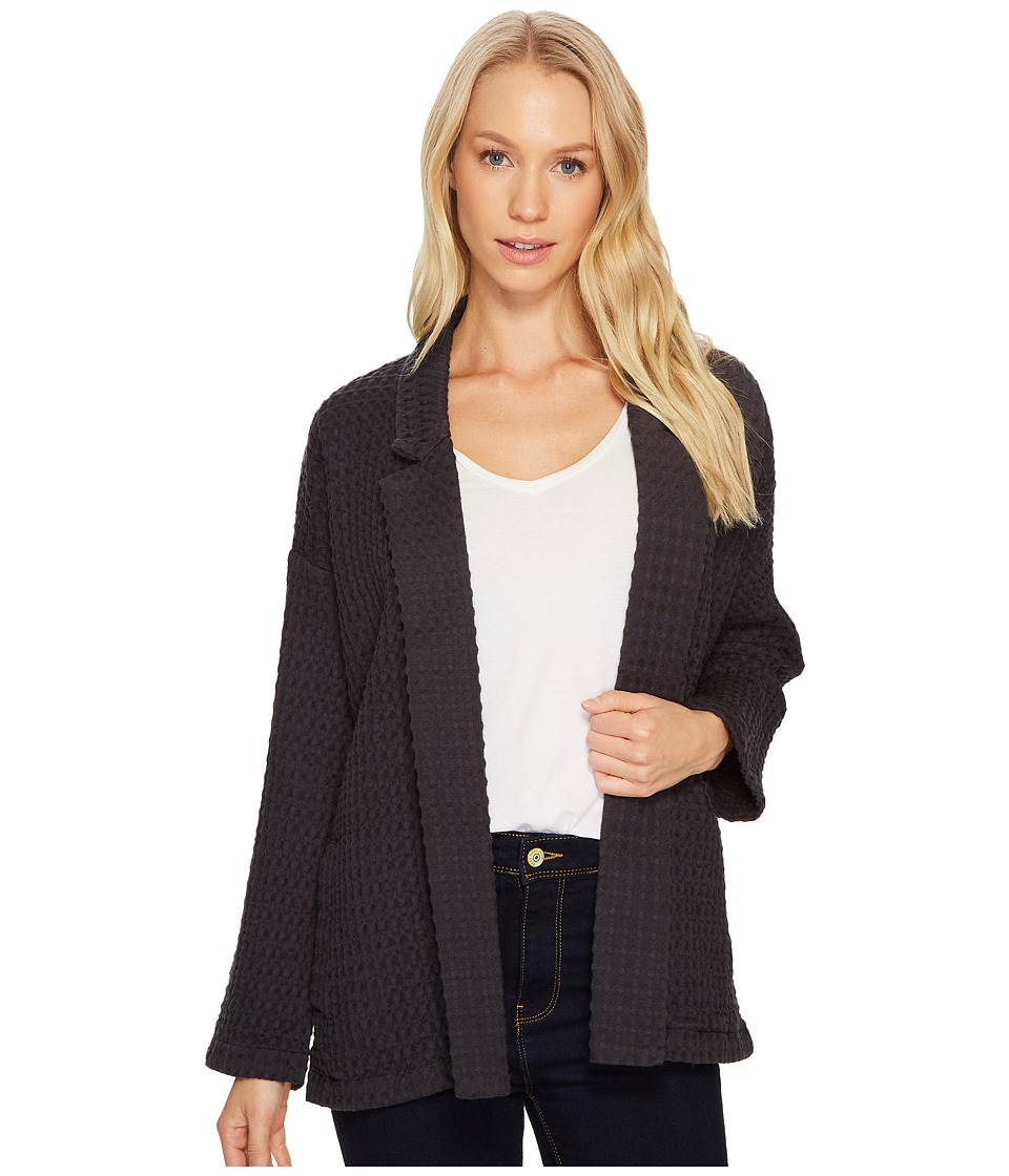 Mod-o-doc Signature Waffle Easy Fit Notch Collar Jacket (Carbon) Women