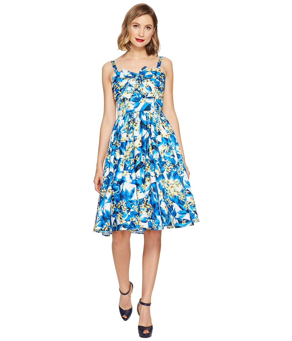 Unique Vintage Golightly Bow Swing Dress (Blue/Yellow Floral) Women