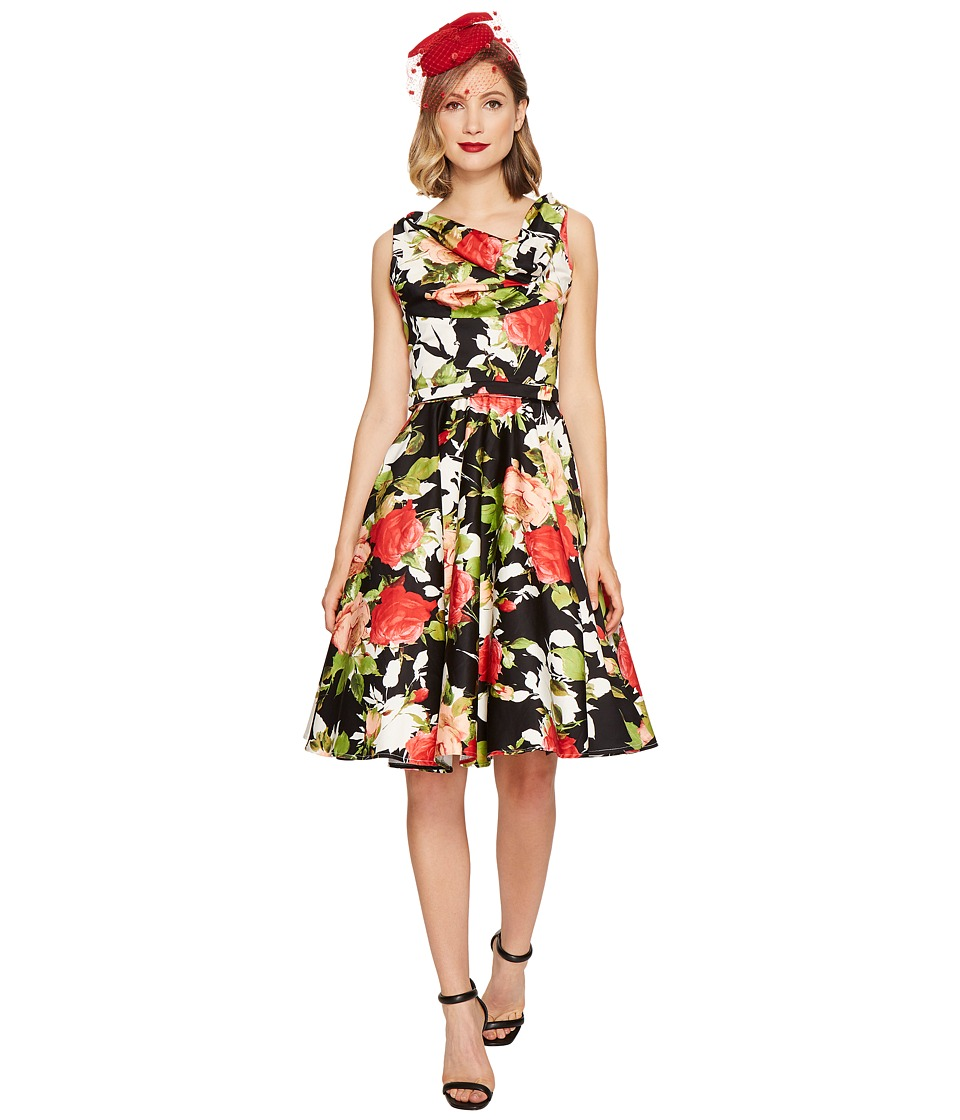 Unique Vintage Blanc Noir Dress (Black/Red Floral) Women