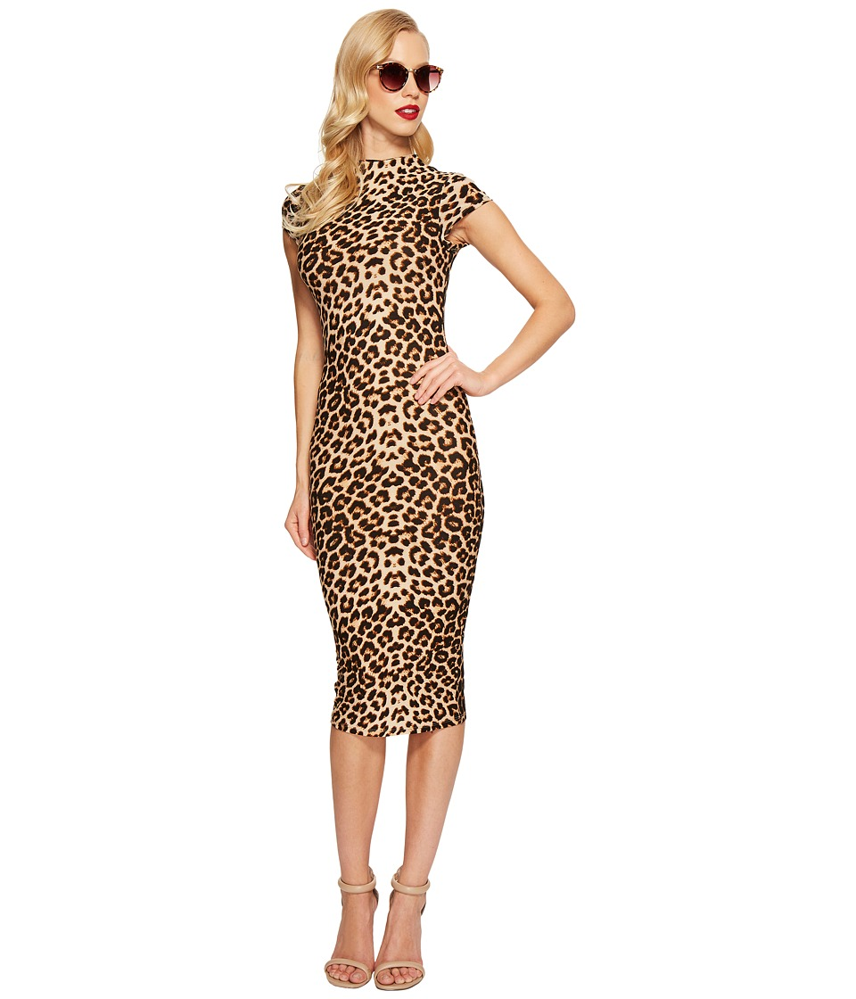 Unique Vintage Holly Wiggle Dress (Leopard) Women