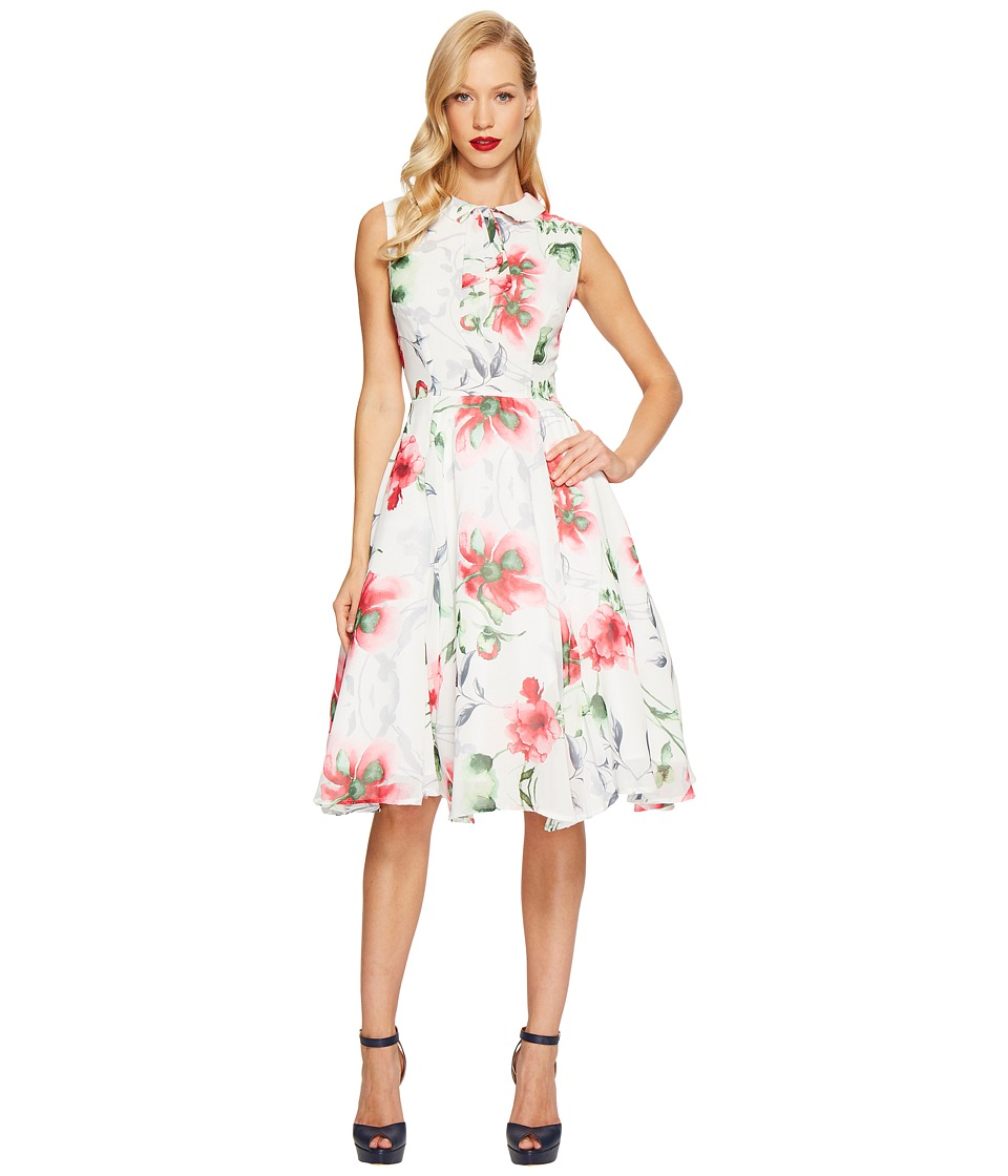 Unique Vintage Chiffon Olson Dress (Floral Print) Women