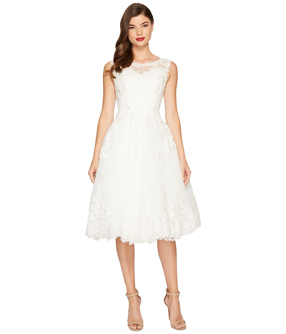Unique Vintage Riviera Lace Tulle Bridal Dress (White) Women
