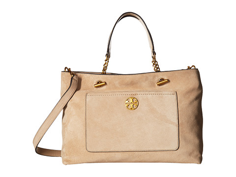 Tory Burch Chelsea Suede Satchel - Stucco