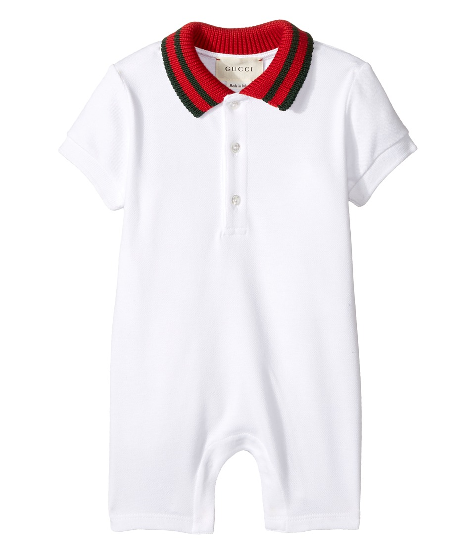 Gucci Kids - Sleep Suit 463265X5B70 (Infant) (White/Green/Red) Boys Jumpsuit & Rompers One Piece