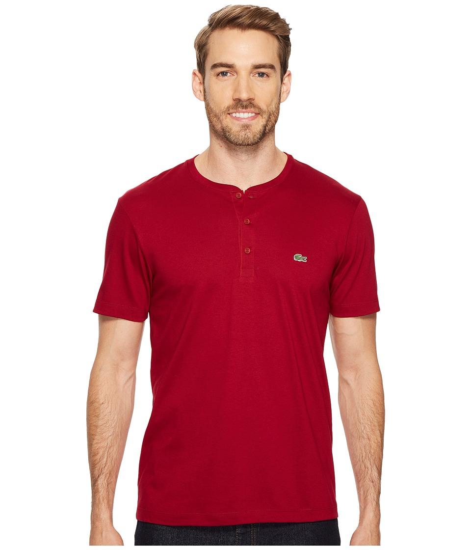 Lacoste Short Sleeve Henley Jersey Pima Tee (Bordeaux) Men