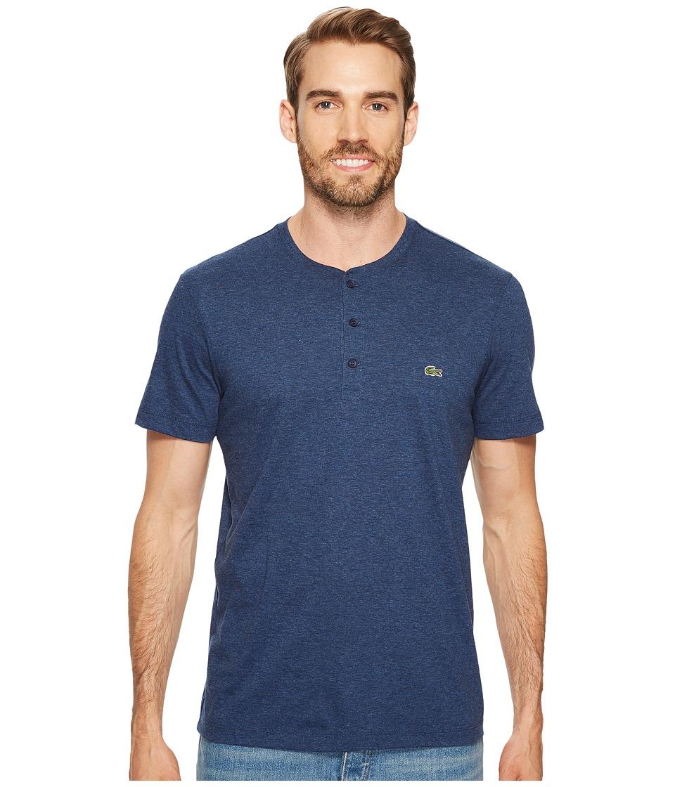 Lacoste Short Sleeve Henley Jersey Pima Tee (Anchor Chine) Men