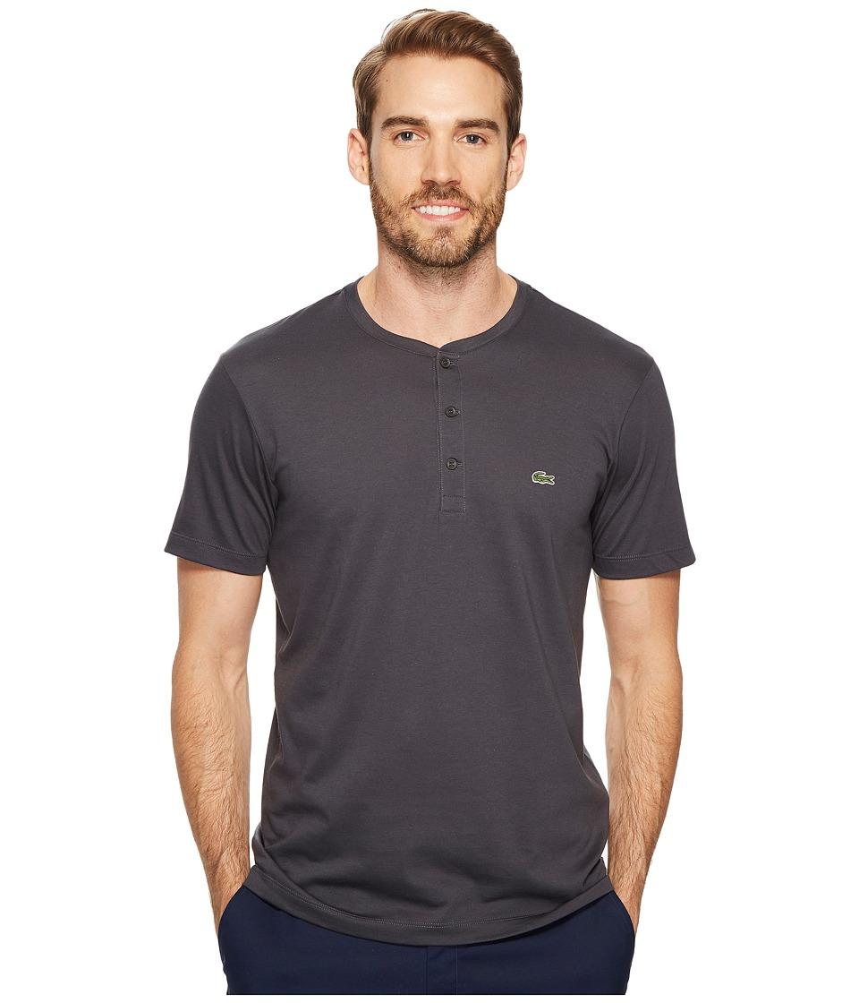 Lacoste Short Sleeve Henley Jersey Pima Tee (Graphite) Men