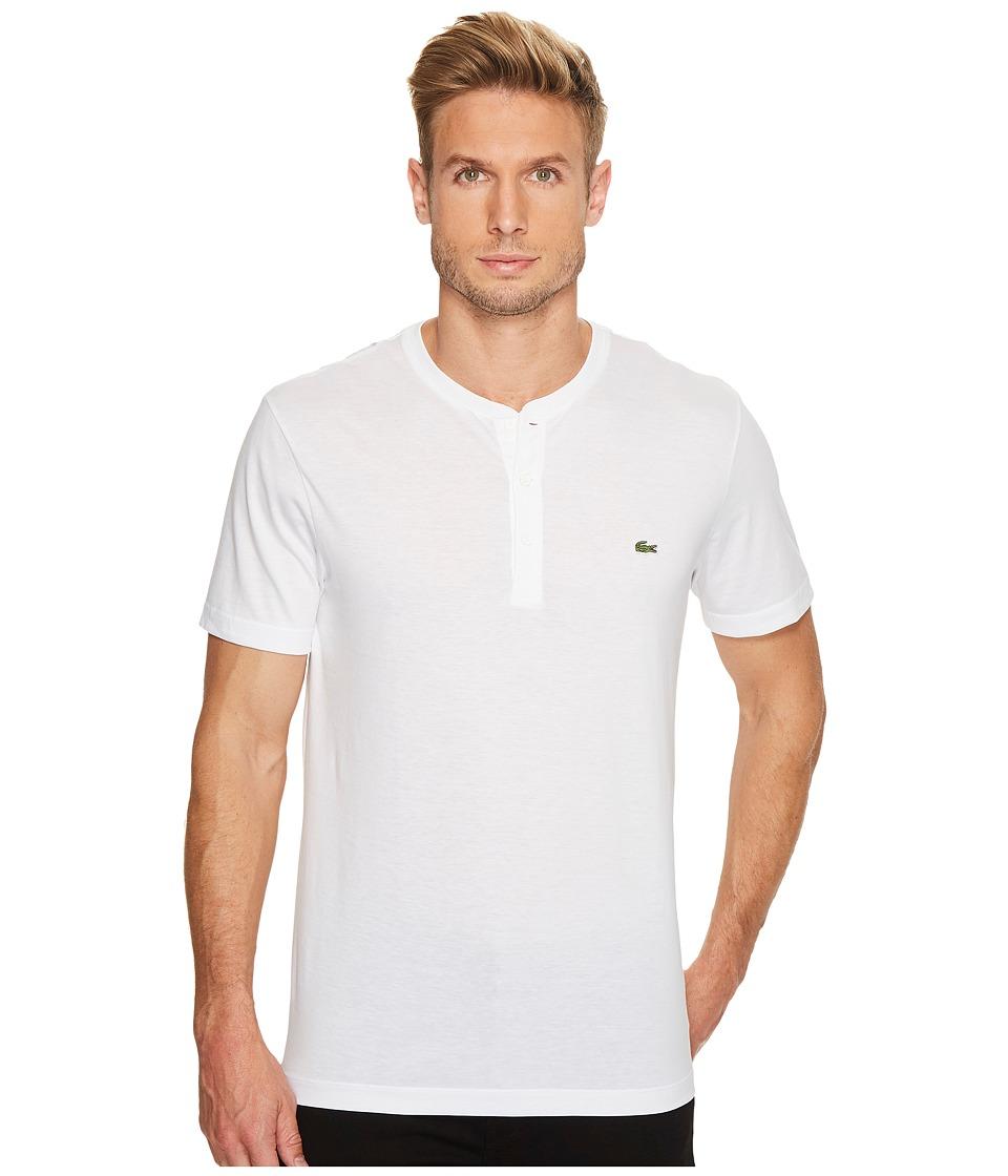 Lacoste Short Sleeve Henley Jersey Pima Tee (White) Men