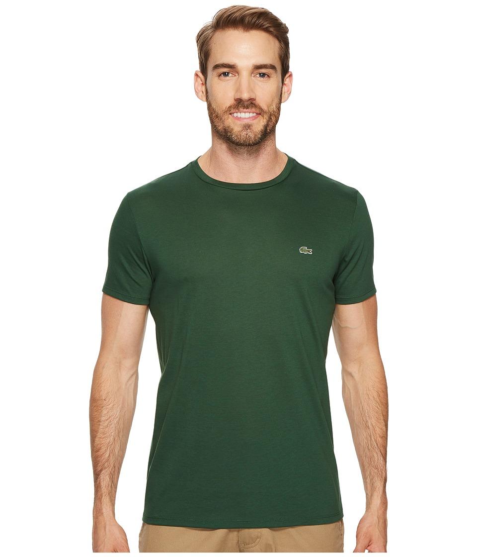 Lacoste Short Sleeve Pima Crew Neck Tee (Green) Men