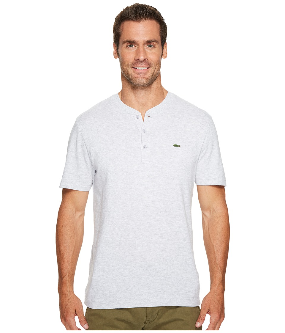 Lacoste Short Sleeve Plain Slubbed Jersey Tee with Textured Effect (Silver Chine/Flour) Men