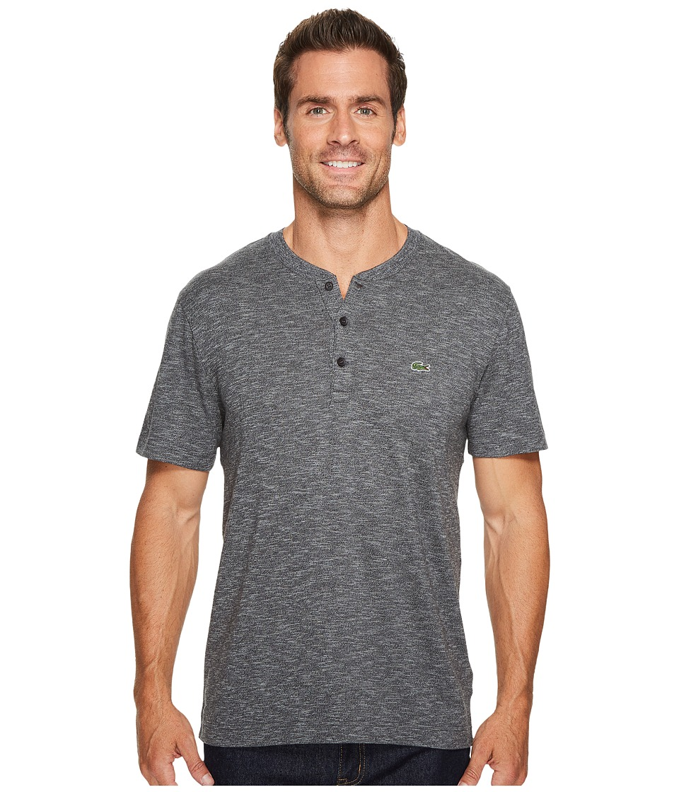 Lacoste Short Sleeve Plain Slubbed Jersey Tee with Textured Effect (Chine Cachou/Galaxite Chine) Men