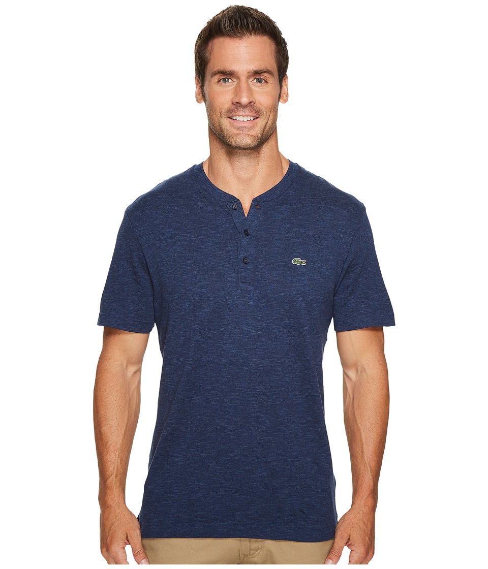 Lacoste Short Sleeve Plain Slubbed Jersey Tee with Textured Effect (Navy Blue) Men