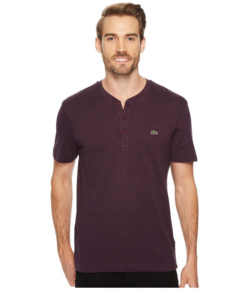 Lacoste Short Sleeve Plain Slubbed Jersey Tee with Textured Effect (Vendange/Navy Blue) Men