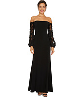 Laundry by Shelli Segal - Off the Shoulder Gown with Applique Sleeve