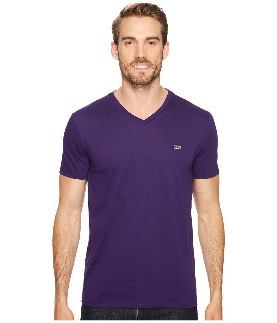 Lacoste S/S Pima Jersey V-Neck T-Shirt (Tanzanite) Men