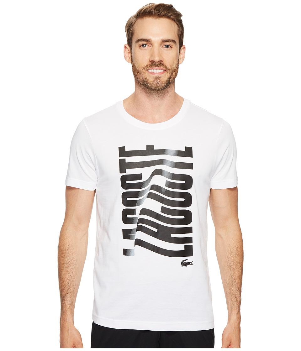 Lacoste Short Sleeve Vertical Lacoste Graphic T-Shirt (White/Black) Men
