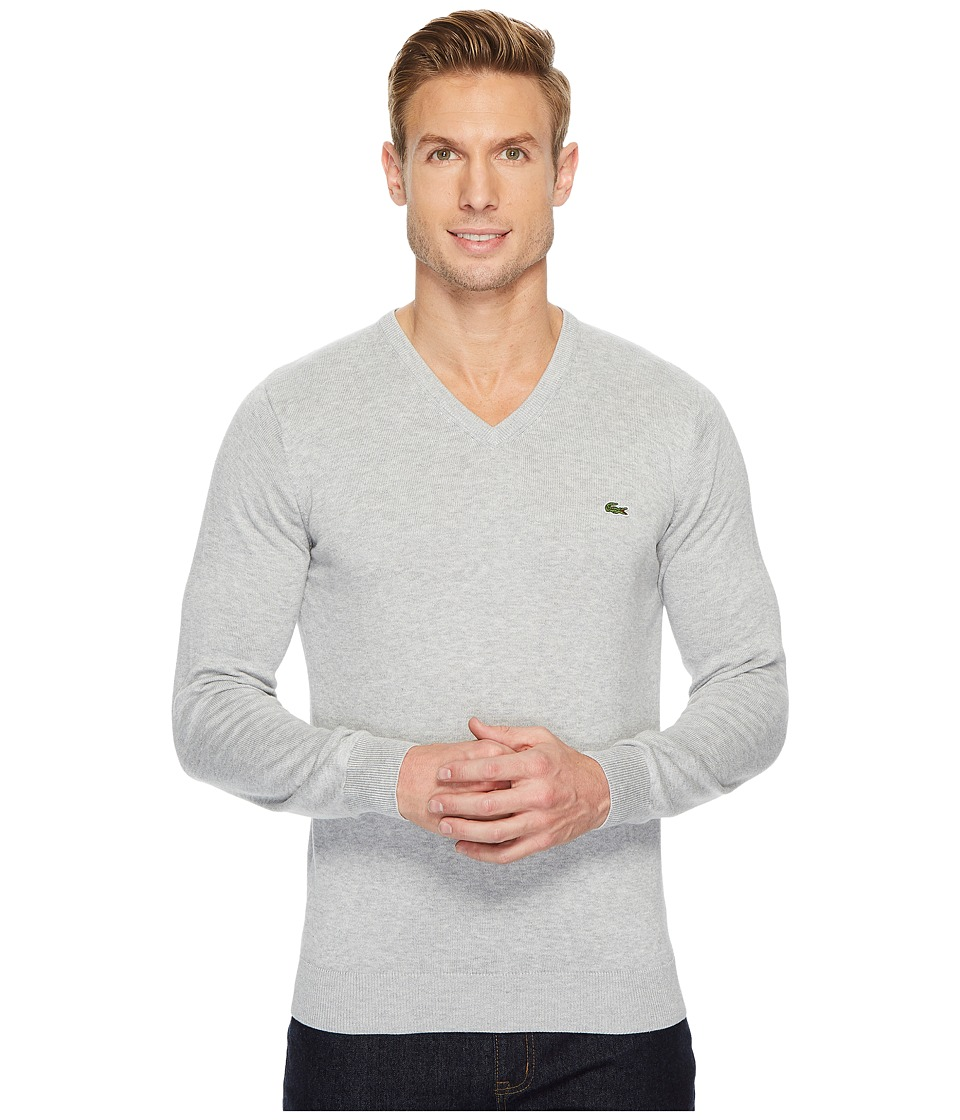 Lacoste V-Neck Cotton Jersey Sweater (Silver Chine) Men