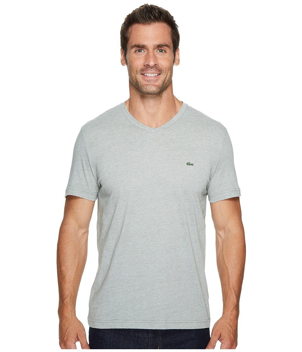 Lacoste V-Neck Stripe T-Shirt (Army/Flour) Men