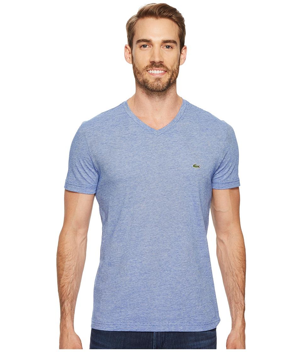 Lacoste V-Neck Stripe T-Shirt (Steamer/Flour) Men