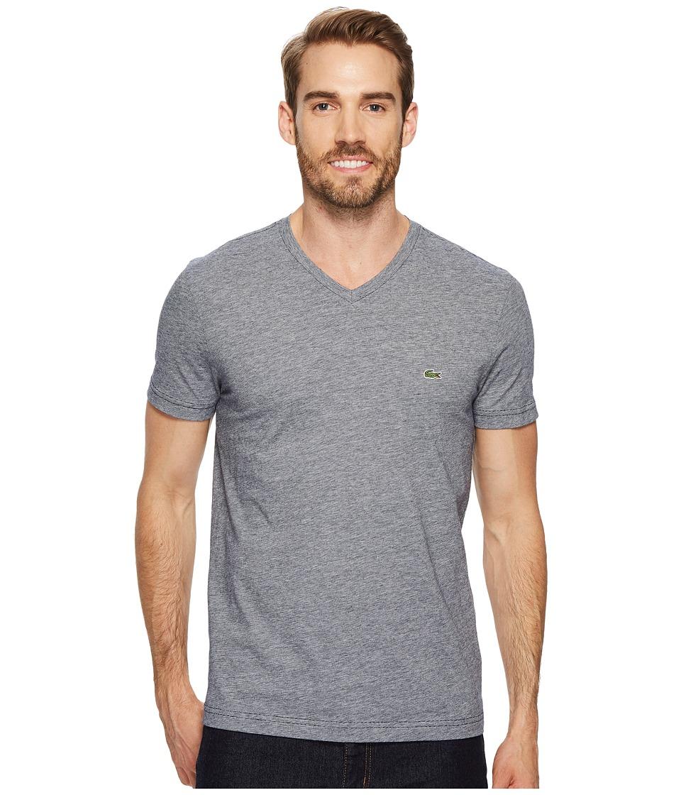 Lacoste V-Neck Stripe T-Shirt (Navy Blue/Flour) Men