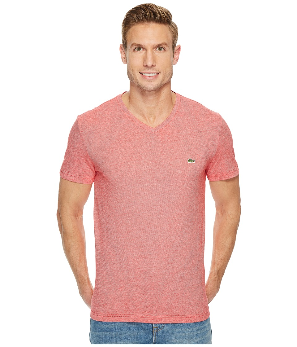 Lacoste V-Neck Stripe T-Shirt (Cherry Red/Flour) Men's T ...