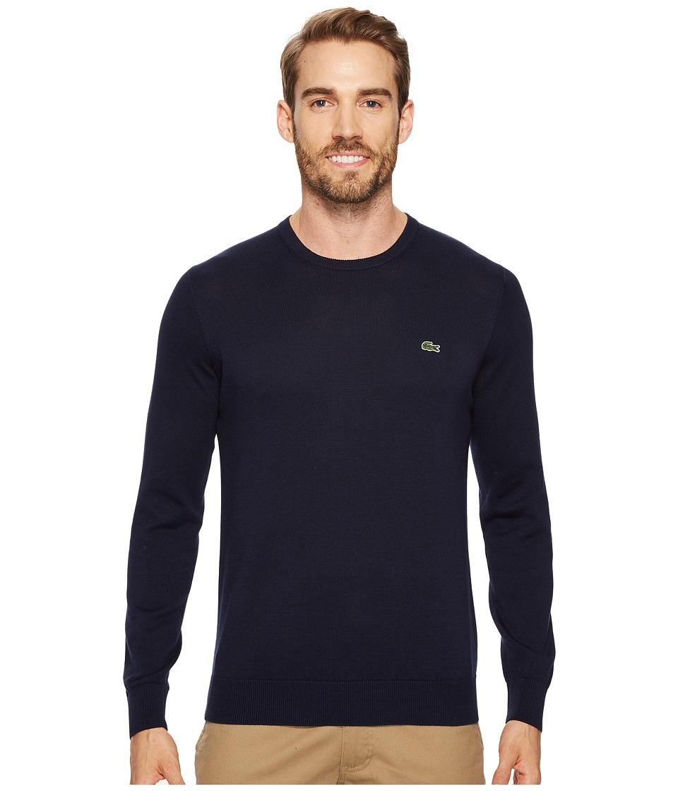 Lacoste Crew Neck Cotton Jersey Sweater with Green Croc (Navy Blue) Men