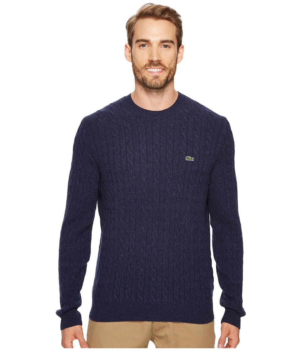 Lacoste Cable Stitch Wool Sweater with Green Croc New Cable Pattern (Midnight Blue Chine) Men