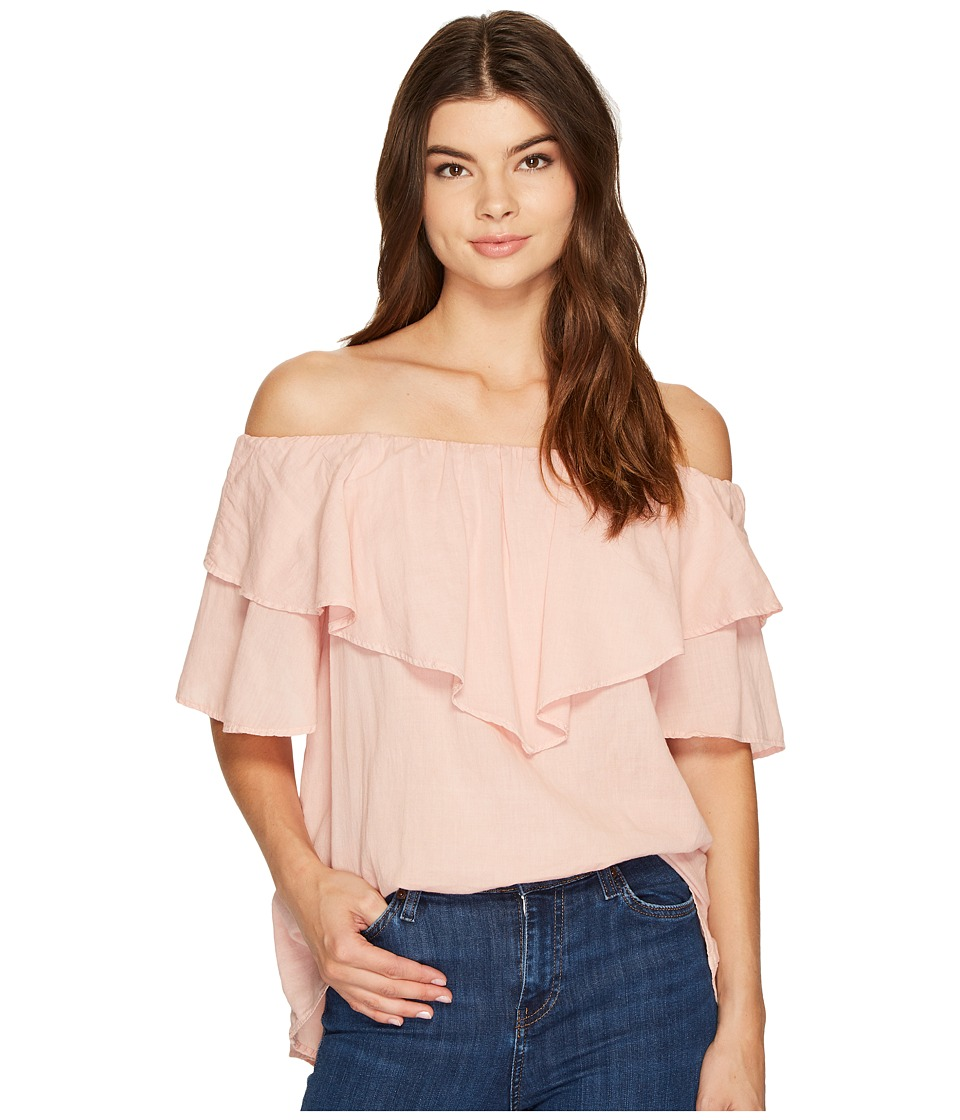 HEATHER - Maria Twill Voile Ruffle Off the Shoulder Top
