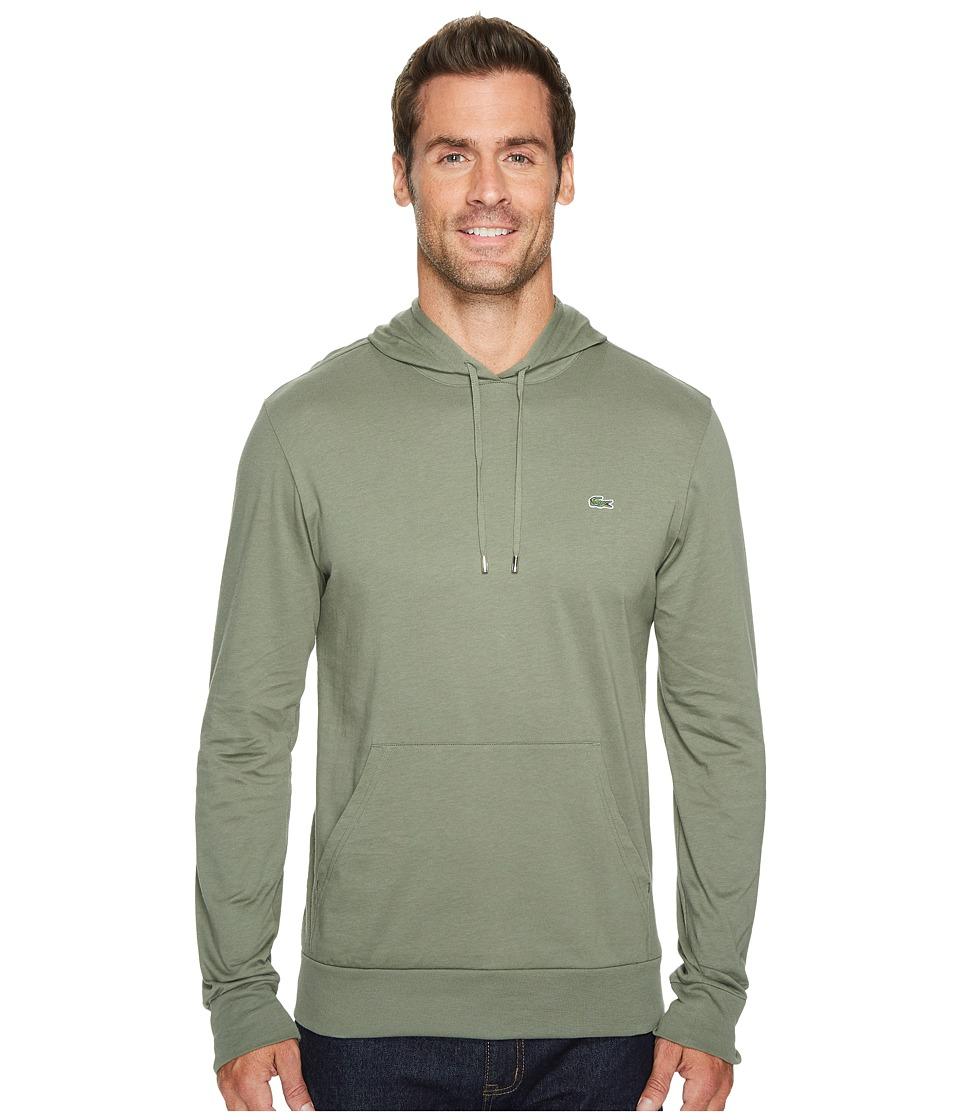 Lacoste Long Sleeve Jersey Hoodie Tee (Army) Men