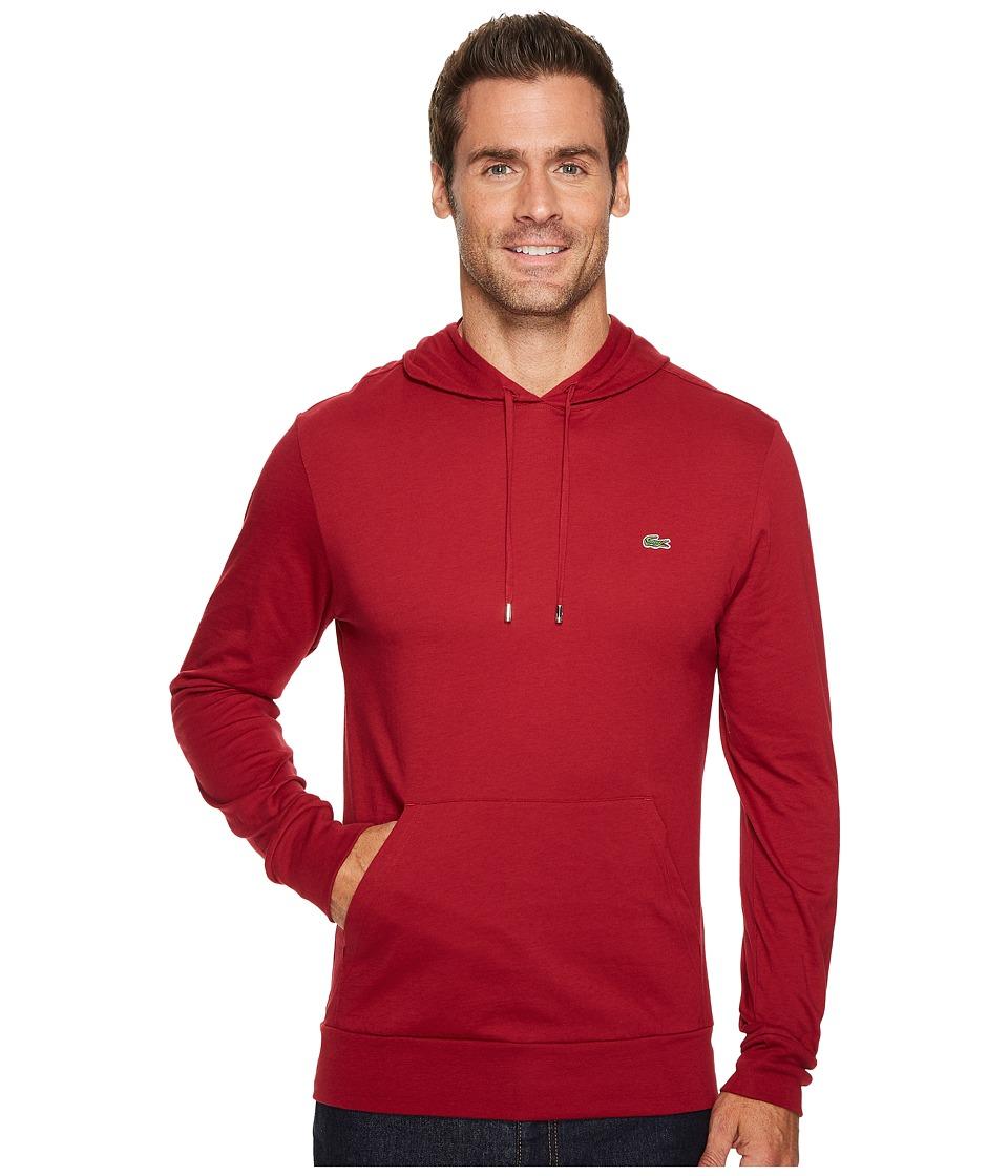 Lacoste Long Sleeve Jersey Hoodie Tee (Turkey Red) Men