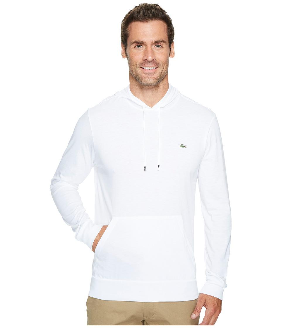 Lacoste Long Sleeve Jersey Hoodie Tee (White) Men