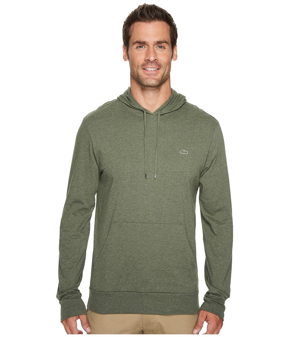 Lacoste Long Sleeve Jersey Hoodie Tee (Aventurine Chine) Men