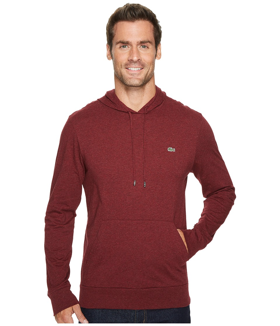 Lacoste Long Sleeve Jersey Hoodie Tee (Red Basque Chine) Men
