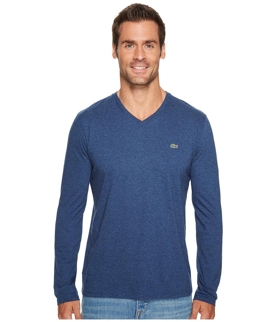Lacoste Long Sleeve V-Neck Tee Shirt (Anchor Chine) Men