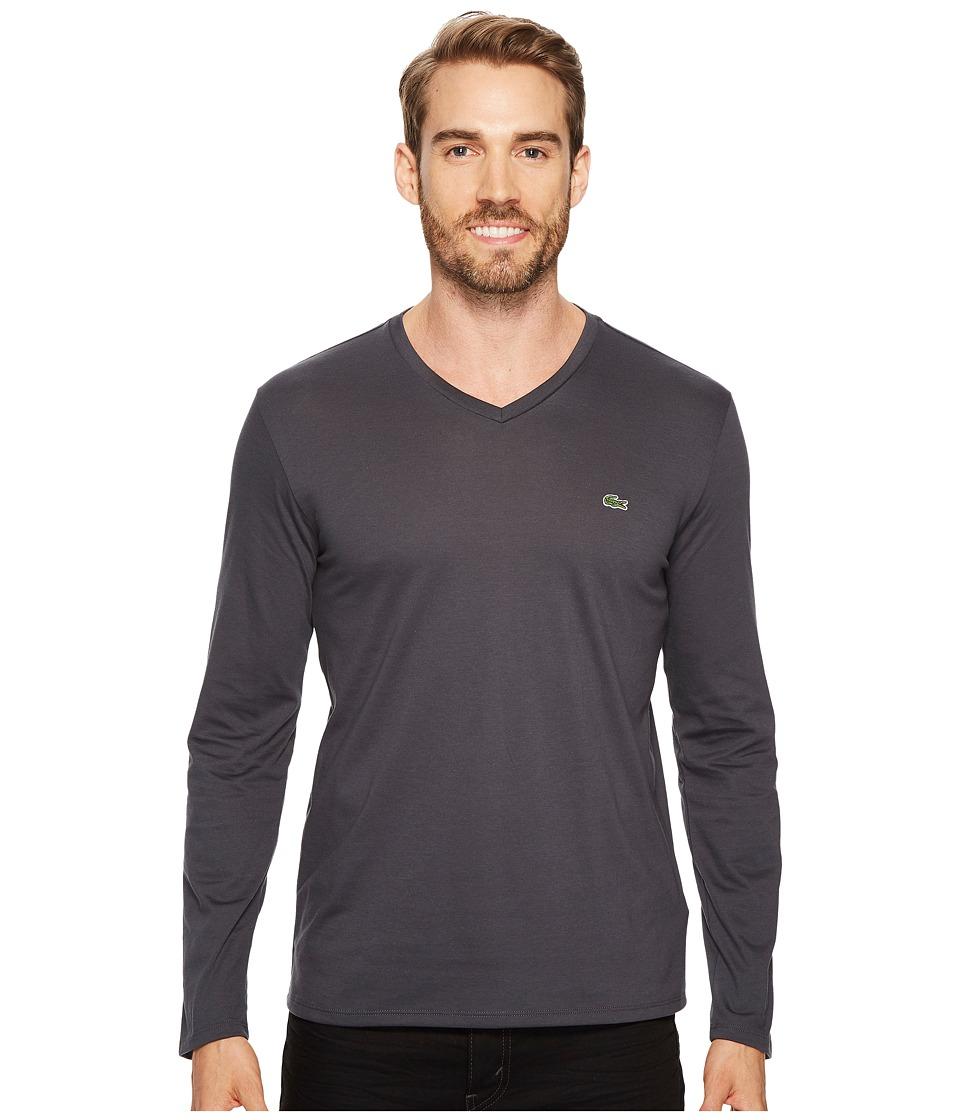 Lacoste Long Sleeve V-Neck Tee Shirt (Graphite) Men